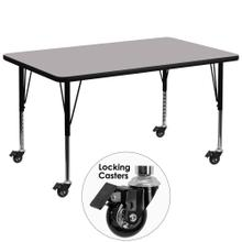 Mobile 24''W x 48''L Rectangular Grey Thermal Laminate Activity Table - Height Adjustable Short Legs
