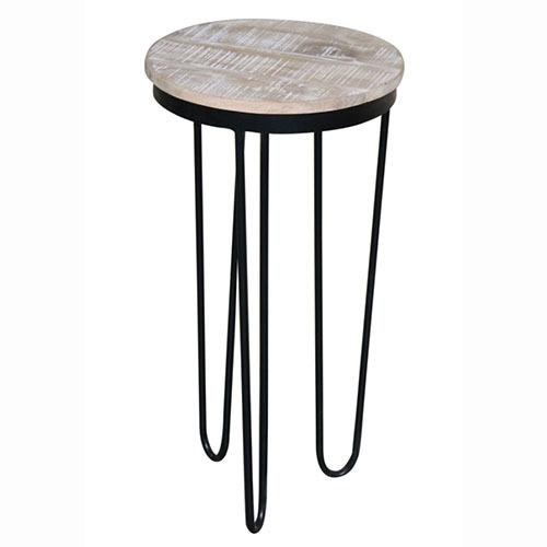 Round Chairside Table - Natural Reclaimed/Iron Finish