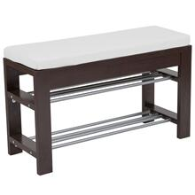 See Details - Espresso Wood Finish Storage Bench with Cushion