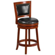 26'' High Light Cherry Wood Counter Height Stool with Black Leather Swivel Seat