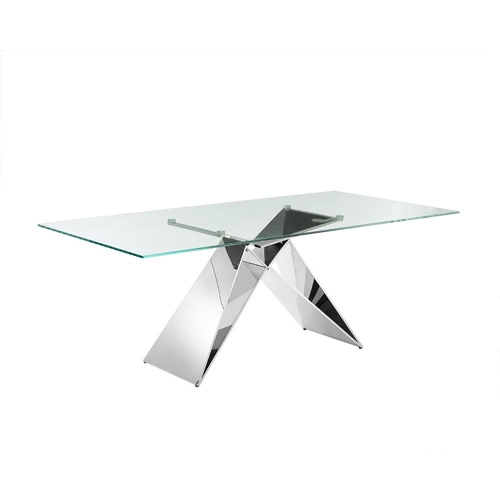 The Eiffel Dining Table In Clear Glass With Polished Stainless Steel Base