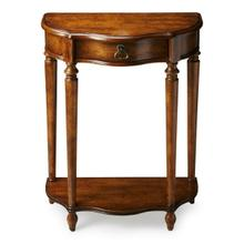 Product Image - This charming console was designed for small spaces _ perfectly suited for a hall, entryway or stairway landing. Hand crafted from poplar hardwood solids and wood products, it features a elegantly distressed dark toffee finish over oak veneers. Includes one drawer with aged brass hardware and a lower display shelf.