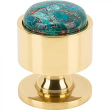 View Product - FireSky Mohave Blue Knob 1 1/8 Inch Polished Brass Base Polished Brass