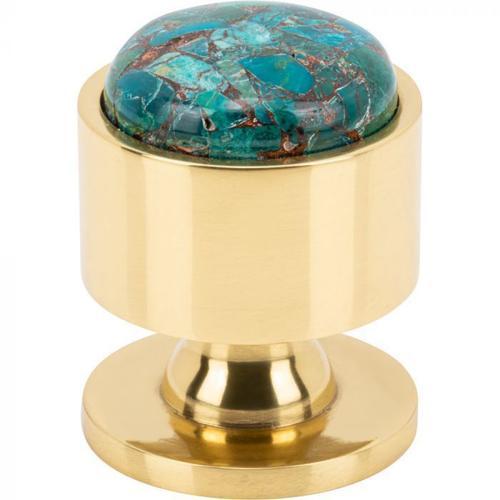 Vesta Fine Hardware - FireSky Mohave Blue Knob 1 1/8 Inch Polished Brass Base Polished Brass