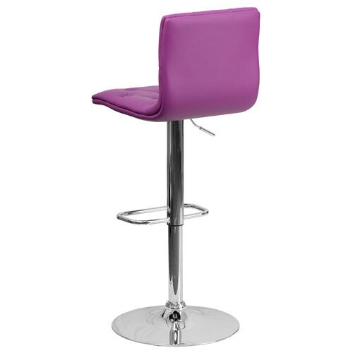 Contemporary Tufted Purple Vinyl Adjustable Height Barstool with Chrome Base