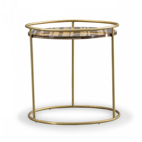 Gallery - Modrest Gilcrest - Glam Brown and Gold Marble End Table