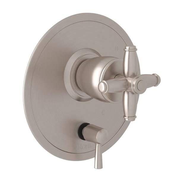 Satin Nickel Zephyr Pressure Balance Trim With Diverter with Cross Handle Zephyr Series Only