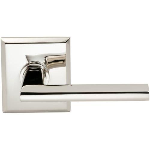Interior Modern Lever Latchset with Rectangular Rose in (US14 Polished Nickel Plated, Lacquered)