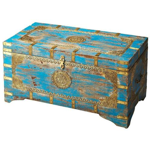 Butler Specialty Company - The blue and gold of the Neela storage trunk will really pop in your room. The brass inlays add crafty design to this beautiful piece, and the mango wood creates a study storage compartment.
