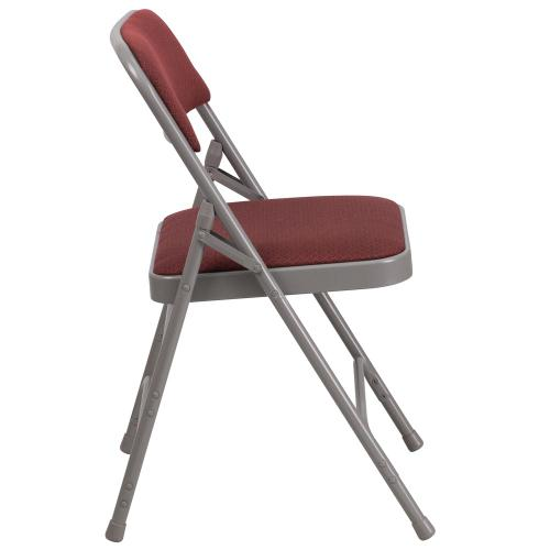Curved Triple Braced & Double-Hinged Burgundy Patterned Fabric Metal Folding Chair