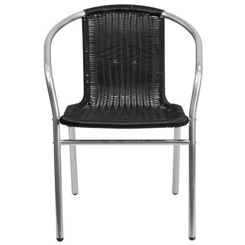 Commercial Aluminum and Black Rattan Indoor-Outdoor Restaurant Stack Chair