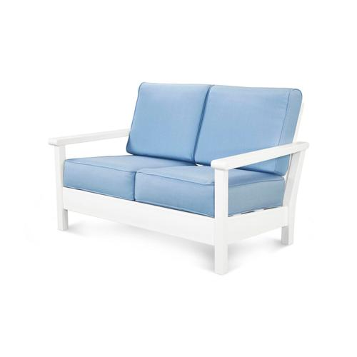 White & Air Blue Harbour Deep Seating Settee