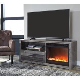 Derekson - TV Stand W/Fireplace Insert Glass/Stone