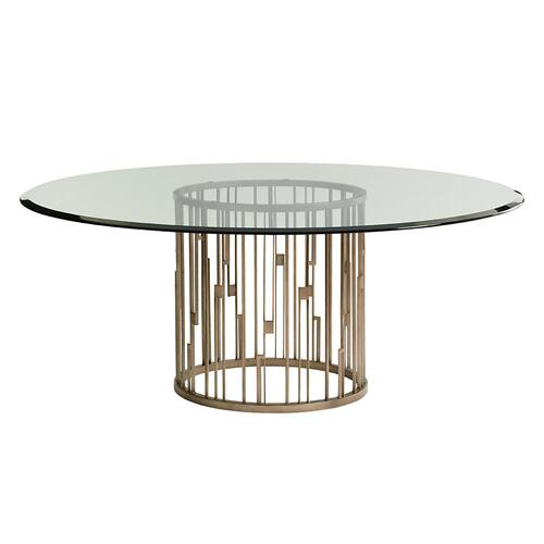 Rendezvous Round Metal Dining Table With Glass Top 72 Inch
