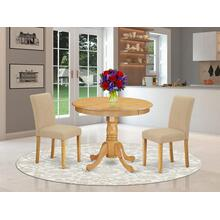 3Pc Rounded 36 Inch Dinette Table And Two Parson Chair With Oak Leg And Linen Fabric Light Fawn
