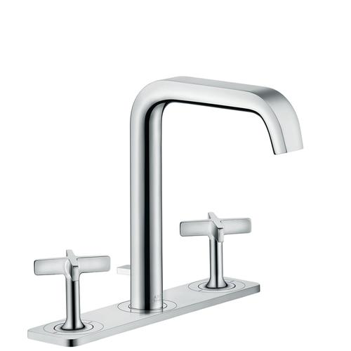 Brushed Brass 3-hole basin mixer 170 with plate and pop-up waste set
