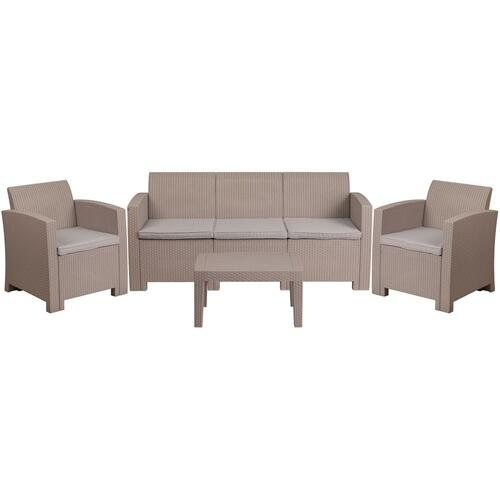 4 Piece Outdoor Faux Rattan Chair, Sofa and Table Set in Light Gray