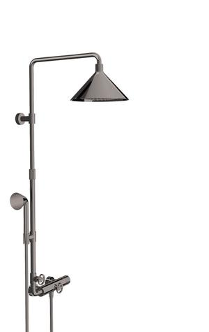 Polished Black Chrome Showerpipe with thermostat and overhead shower 240 2jet Product Image