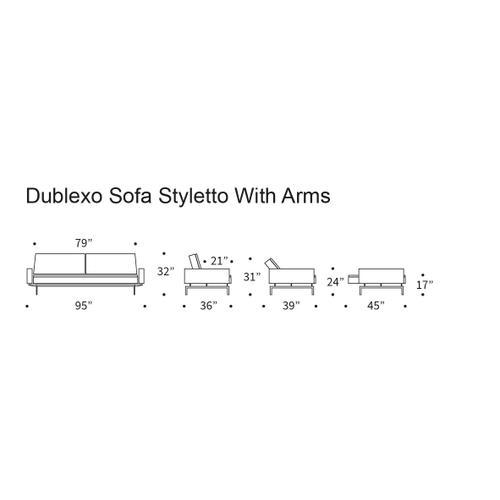 "DUBLEXO SOFA, 45""X83""/SP ROUND SOFA ARMS, 1 SET/SP STYLETTO HL ARMS & LEGS, METAL BARS/SP STYLETTO HL WALNUT"