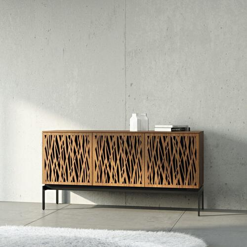 Triple Wide Cabinet W Console Base in Tempo Doors Natural Walnut