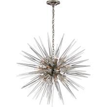 E. F. Chapman Quincy 20 Light 30 inch Polished Nickel Pendant Ceiling Light, E.F. Chapman, Medium, Sputnik, Clear Acrylic Shade