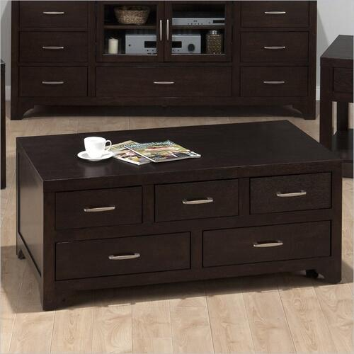 Rectangle Cocktail Table W/ 5 Pull-thru Drawers and Casters (assembled)