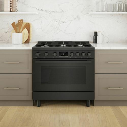 Bosch - 800 Series Gas Freestanding Range 36'' Black Stainless Steel HGS8645UC