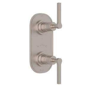 Lombardia 1/2 Inch Thermostatic and Diverter Control Trim - Satin Nickel with Metal Lever Handle