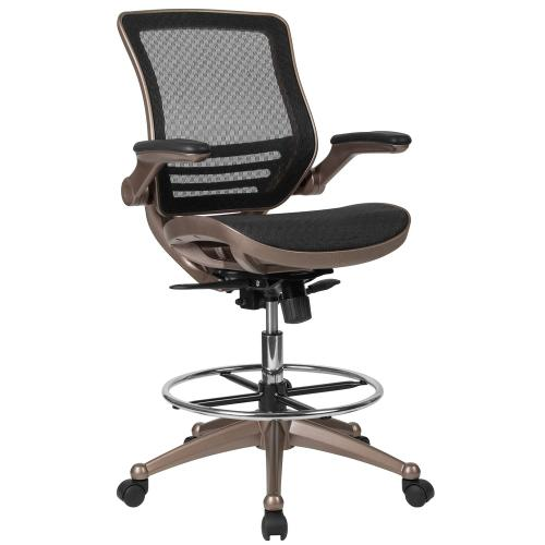 Alamont Furniture - Mid-Back Transparent Black Mesh Drafting Chair with Melrose Gold Frame and Flip-Up Arms