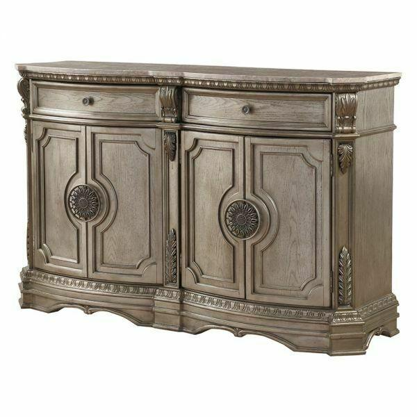 ACME Northville Server w/Marble Top - 66925 - Antique Silver