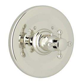 Thermostatic Trim Plate without Volume Control - Polished Nickel with Cross Handle