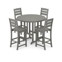 View Product - Lakeside 5-Piece Round Bar Side Chair Set in Slate Grey