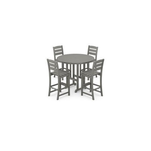 Polywood Furnishings - Lakeside 5-Piece Round Bar Side Chair Set in Slate Grey