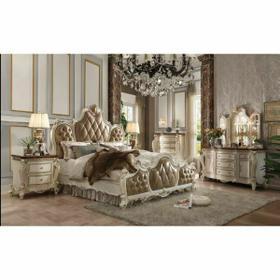 ACME Picardy Eastern King Bed - 26897EK - PU & Antique Pearl
