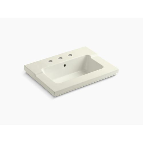 "Biscuit Vanity-top Bathroom Sink With 8"" Widespread Faucet Holes"