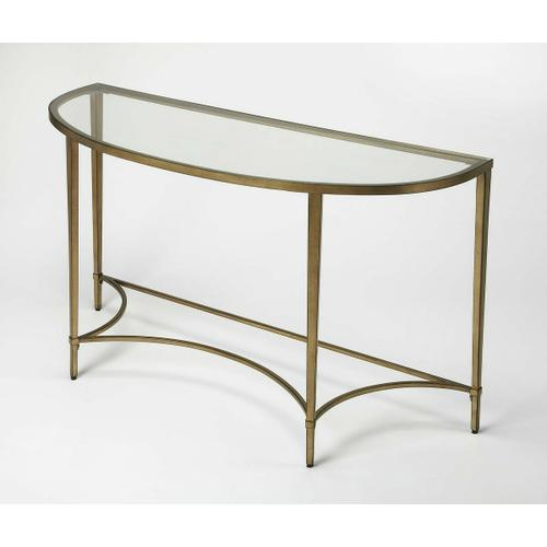Butler Specialty Company - Versatile and sleek, this eye-catching console table gracefully greets guests when you sit it on the wall across near front door or behind your sofa. While stunning all by itself, you can always up the drama by setting a tall vase of florals on top and hanging a gilded mirror on the wall above. Crafted of antique gold finished metal tube and glass, this piece can beautifully blend right into your abode.