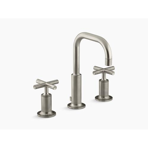 Vibrant Brushed Nickel Widespread Bathroom Sink Faucet With Low Cross Handles and Low Gooseneck Spout
