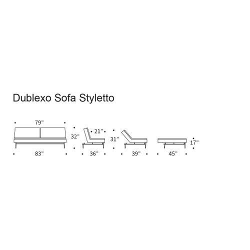 "DUBLEXO SOFA, 45""X83""/SP SOFA LEGS, METAL BARS/SP STYLETTO HL WALNUT"