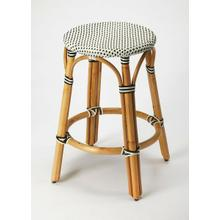 See Details - Evoking images of sidewalk tables in the Cote d'Azur, counter stools like this will give your kitchen or patio the casual sophistication of a Mediterranean coastal bistro. Expertly crafted from thick bent rattan for superb durability, it features weather resistant woven plastic in a black and white striped pattern. This backless counter stool is lightweight for easy mobility with comfort to make the space it's in a frequent gathering place.