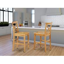 X-Back stool with wood counter seat in Oak finish