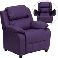 Deluxe Padded Contemporary Purple Vinyl Kids Recliner with Storage Arms