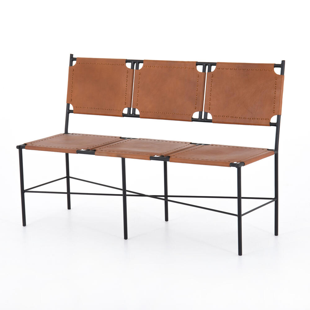 Zeke Accent Bench-caramel Leather