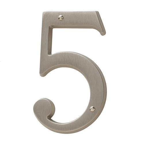 Satin Nickel House Number - 5