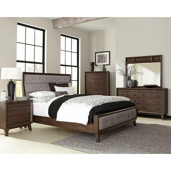 Bingham Retro-modern Brown Upholstered Eastern King Bed