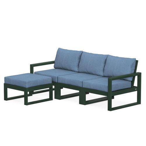 Polywood Furnishings - EDGE 4-Piece Modular Deep Seating Set with Ottoman in Green / Sky Blue