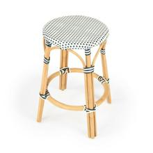 See Details - Evoking images of sidewalk tables in the Cote d'Azur, counter stools like this will give your kitchen or patio the casual sophistication of a Mediterranean coastal bistro. Expertly crafted from thick bent rattan for superb durability, it features weather resistant woven plastic in a navy pattern. This backless counter stool is lightweight for easy mobility with comfort to make the space it's in a frequent gathering place.