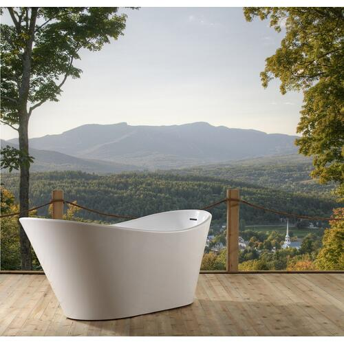 "Marilyn 71"" Acrylic Slipper Tub with Integral Drain - White Powder Coat Drain and Overflow"