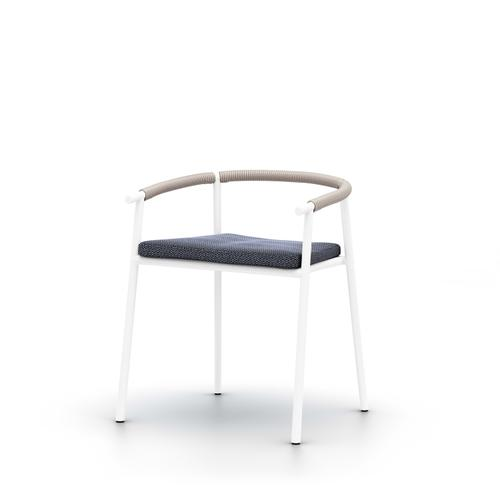 Faye Navy Cover Chord Outdoor Dining Chair, White