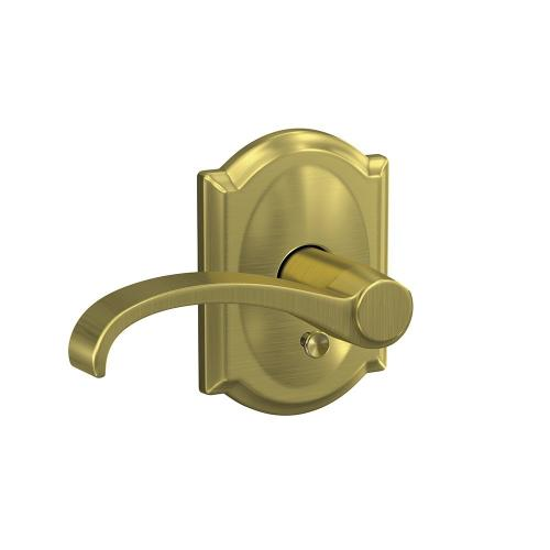 Custom Whitney Lever with Camelot Trim Hall-Closet and Bed-Bath Lock - Satin Brass