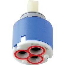 Ceramic operating cartridge with volume control and hot water limit stop